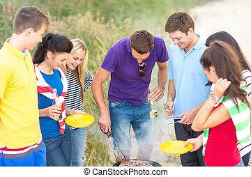 gruppe, strand picknick, friends, haben