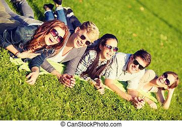 gruppe, studenten, park, teenager, oder, liegen