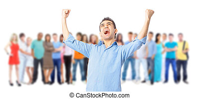 gruppe, students., groß, aus, junger, hintergrund, weißes, lächelnden mann