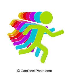 gruppe, symbolisch, freigestellt, figuren, menschliche , ...
