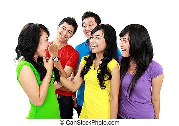 gruppe, teenager, glücklich
