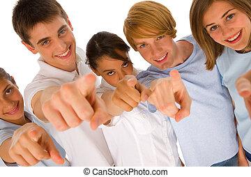 gruppe, teenager, zeigen