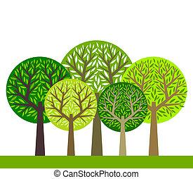 gruppe, træer