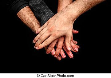 gruppe, voksne, unge, stabel, hænder, indgåelse