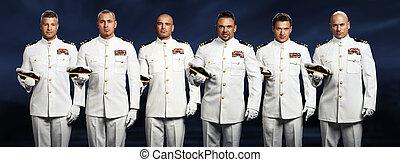 gruppe, von, 6, hübsch, kapitän, meer, schiff