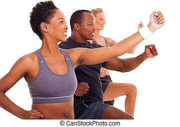 gruppe, von, anfall, leute, trainieren