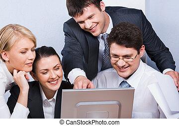 gruppe, von, arbeiter