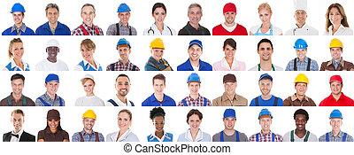 gruppe, von, arbeiter, weiß, hintergrund