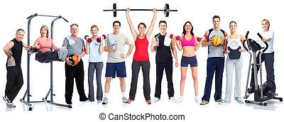 gruppe, von, fitness, leute