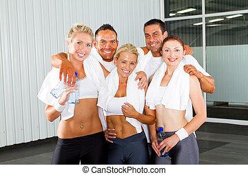 gruppe, von, fitness, leute, porträt