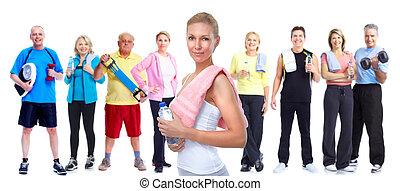 gruppe, von, fitness, leute.