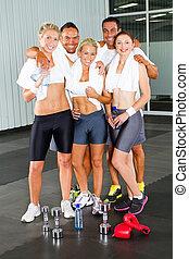 gruppe, von, fitness, leute, turnhalle