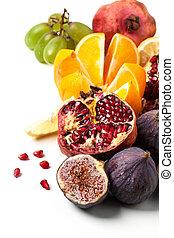 gruppe, von, frische früchte