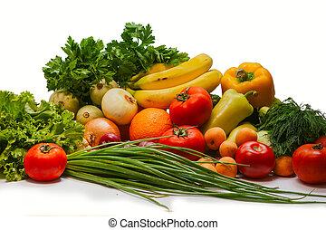 gruppe, von, gemuese, und, früchte