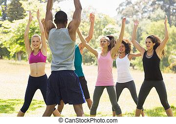 gruppe, von, gesundheit klasse, trainieren, park