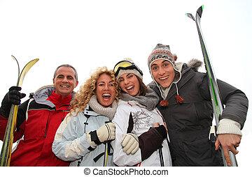 gruppe, von, glücklich, friends, in, winter- ferien