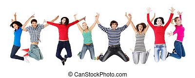 gruppe, von, glücklich, junge leute, springen luft