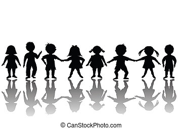 gruppe, von, glücklich, kinder