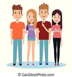 gruppe, von, glücklich, leute, friends, zusammen, in, beiläufige kleidung, auf, a, weißer hintergrund