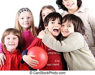 gruppe, von, glücklich, verspielt, kinder, in, studio