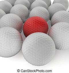 gruppe, von, golfbälle