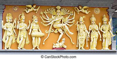 gruppe, von, hindu, götter