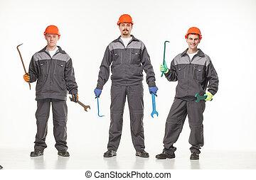 gruppe, von, industrie, workers., freigestellt, aus, weißer hintergrund