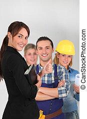 gruppe, von, junger, arbeiter, weiß, hintergrund