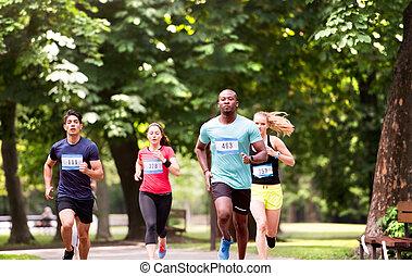 gruppe, von, junger, athleten, rennender , in, grün, sonnig,...
