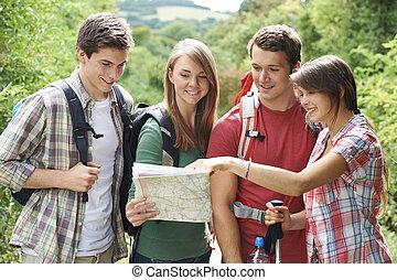 gruppe, von, junger, friends, wandern, in, landschaft