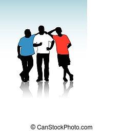 gruppe, von, junger, typen, silhouetten