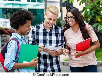 gruppe, von, kaukasier, und, afrikanischer amerikaner, studenten