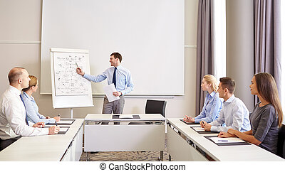 gruppe, von, lächeln, businesspeople, versammlung, in, buero