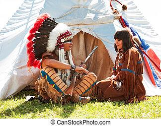 gruppe, von, nordamerikanisch, indianer, über, a, wigwam