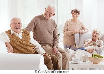 gruppe, von, positiv, ältere