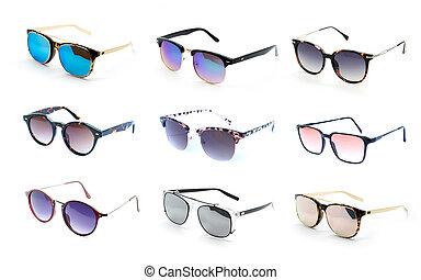 gruppe, von, schöne , sonnenbrille, freigestellt, weiß, hintergrund