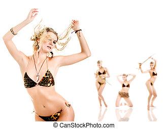 gruppe, von, schöne , tanzen, frauen, freigestellt, weiß, hintergrund