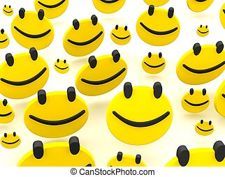 gruppe, von, smileys., 3d, geleistet, abbildung, freigestellt, auf, white.