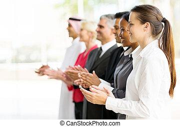 gruppe, von, teilhaber, klatschende