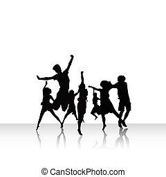 gruppe, von, völker, in, tanz