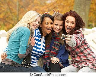 gruppe, von, vier, jugendliche mädchen, machen photos, mit, fotoapperat, sitzen bank, in, herbst, park