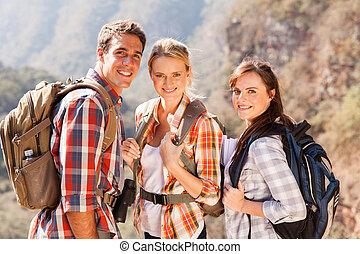 gruppe, von, wandern, friends, oben, berg
