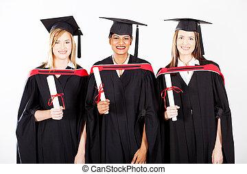 gruppe, von, weibliche , promoviert, an, studienabschluss