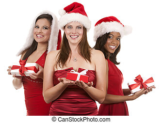 gruppe, von, weihnachten, frauen