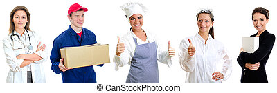 gruppe, von, workers., doktor, botenservice, oberhaupt, koch, chemiker, und, secretary.
