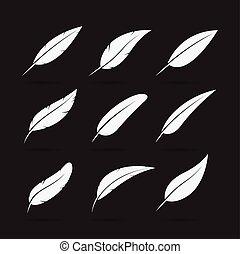 gruppe, weißes, hintergrund., vektor, icon., feder