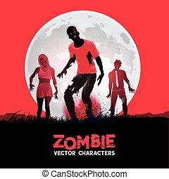 gruppe, zombies, essende, tot, fleshing