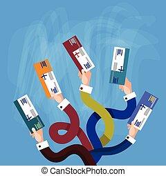 gruppenreisen, halten hände, international, fahrschein, dokument