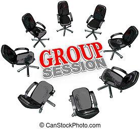 gruppenstunde, versammlung, stühle, in, kreis, für, diskussion