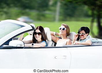 gruppo, adolescenti, cabriolet, felice